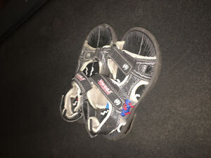 Boys size 1 soccer cleats and sandals