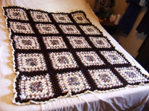 Beautiful Hand Crocheted Afghan - White & Brown Tones - $10.00