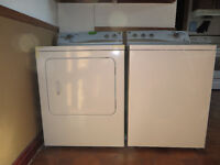 Set of appliances: fridge, stove/oven, washer, and dryer.