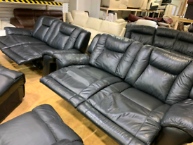 FREE DELIVERY black leather 3+3 manual recliner suite