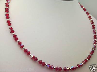 Collana con Cristalli SWAROVSKI e Argento 925 Girogola Light Siam 227 AB Rosso