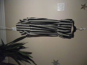 Strapless b&w striped fishtail dress