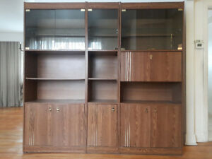 Vintage 80's Large Modular Display and Shelving Unit with Bar