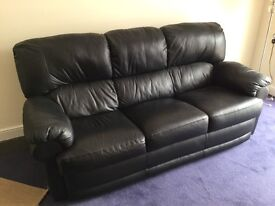 Black Italian leather sofa and recliner