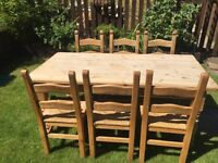 Farmhouse solid pine table and 6 chairs