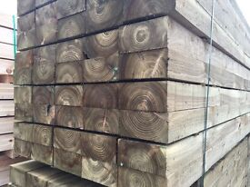 New Wooden Pressure Treated Railway Sleepers