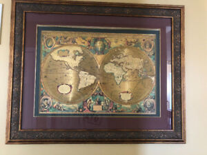 World Map in Engraved Frame