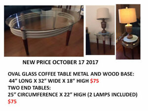 GLASS COFFEE TABLE AND TWO ENDS $150 (LAMPS INCLUDED)