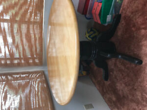 Solid Wood Round Table with Hidden Leaf