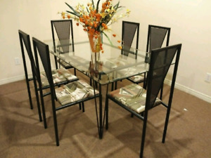 6 chairs dining set w/ glass table top