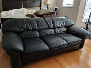 Black Leather Sofa (Great condition)