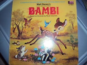 Antique Bambi Record album, record, and attached graphic booklet
