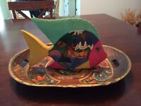 Wooden Fish & Tray, Price: $4 Each!