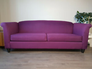 Sofa / Couch Camel Back Design / Rolled Arms, Cosmo / Purple