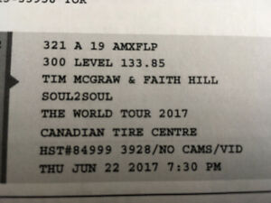 2 Tim McGraw and Faith Hill Tickets on June 22 at CTC