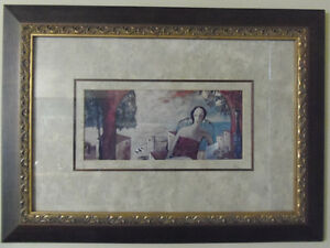 Rich and Elegant Beautifully Framed Print of Lovely Lady Resting