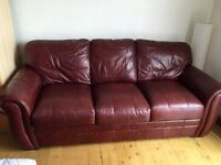 Leather 3 & 2 seater sofas, good condition