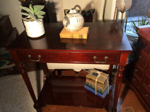 Bombay Company Solid Wood Console, 2- Tier and a Drawer- $145