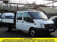 2012 FORD TRANSIT 350/100 DOUBLE CREW CAB ALLOY TIPPER WITH ONLY 53.000 MILES,1