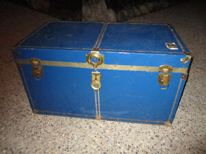 Rustic Blue Steel Trunk... Great Coffee Table & Toy Box