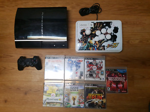 PS3 1 controller 7 games + arcade fightstick street fighter iv