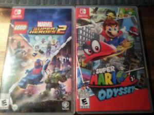 Mario Odyssey et Lego Marvel Super Hero 2 switch