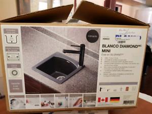 "Neuf Blanco Diamond Mini Evier en Silgranit Sink 15"" X 15"" New"