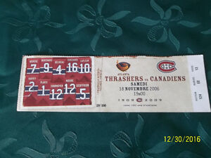Un billet de Match de Hockey THRASHERS vs CANADIENS.