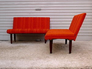 Pair Mid Century Modern Teak Seating Bench Couch by Huber