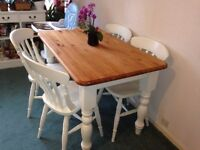 Farmhouse dining table and four chairs