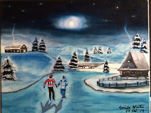 Oil Painting - Winter skaters on the canal