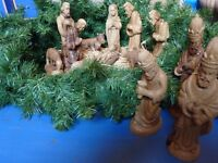 Nativity figures hand-carved from olive wood, 12 piece set.