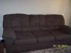Brown cloth 3 cushion chesterfield