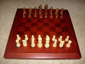 "Wood Chess Set: 15 3/4 x 15 3/4 Board. 3"" King."