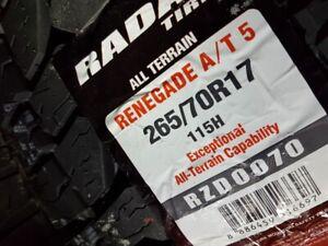 4 X NEW AII SEASON 265-70-R17 RADAR RENEGADE AT5 115H NEUFS