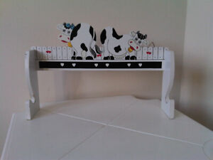 Cows on Piano wooden hanger 13 x 8.5 inches