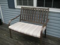 outdoor double bench in metal