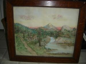 Framed antique watercolour painting - woodland scenery