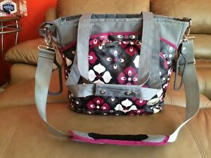 JJ Cole diaper bag Burgundy, grey & black