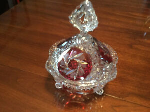 Crystal dish with lid.