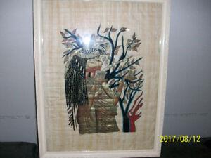 "Dessin égyptien sur ""Akhnaton Papyrus"", original,antique"