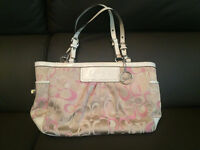 COACH F13762 Beige Pink East West Gallery Tote Bag LOOKS NEW