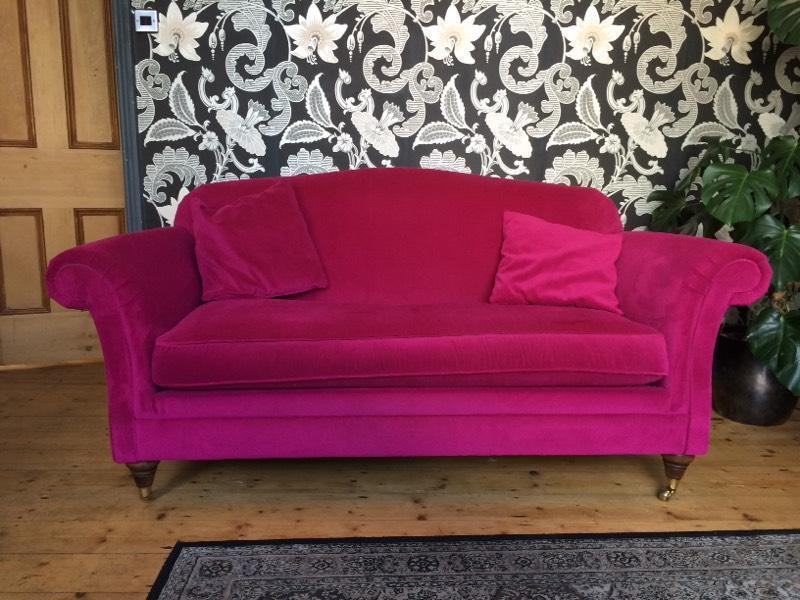 Marks And Spencer Stunning Fuchsia Pink Velvet Sofa In