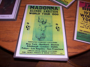 Madonna World Tour Poster 12 by 16 In hard plastic frame...ready