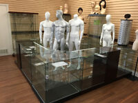 Mannequins, Glass Showcases, Counters, Store fixtures
