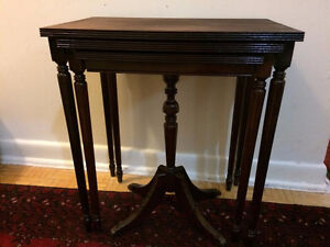 Cherry wood nesting tables, moon table and flower stand