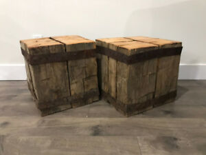 authentic rustic barn beam side tables