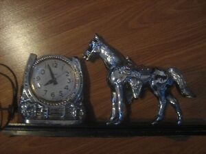 1950's Snider Mantel Electric Clock With Silver Horse