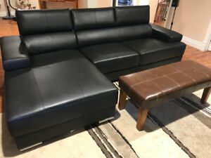 Faux Leather sectional with chaise