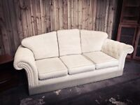 Large 3 Seater Cream Chesterfield Sofa Settee - FREE DELIVERY